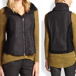 Eileen Fisher Boiled Mixed Media Zip Up Vest Black
